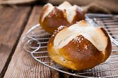 stock photo of pretzels  - Salted Pretzel Roll  - JPG