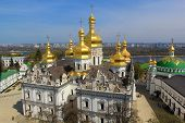 picture of kiev  - kiev pechersk lavra and its beautiful golden domes of uspenskiy cathedral - JPG