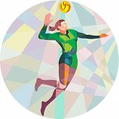 picture of spike  - Low polygon style illustration of a volleyball player spiker jumping spiking hitting ball viewed from the side set inside circle on isolated background - JPG