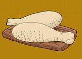 image of poultry  - Pair of raw poultry meat drumsticks on cutting board - JPG