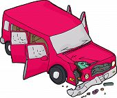 image of bender  - Isolated pink SUV with open doors and smashed fender - JPG