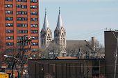 stock photo of illinois  - The spires of Saint Joseph - JPG