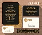 stock photo of classic art  - Vintage classic wedding invitation set design Template Vector place card response card save the date card - JPG