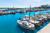 stock photo of marina  - Majorca Cala Bona marina port Son Servera Mallorca in Balearic islands of spain - JPG