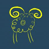 foto of ram  - Scribble style yellow ram with magnificent twisted horns eps 10 vector illustration - JPG