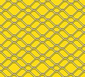 image of chain link fence  - seamless metal chain link fence on yellow background - JPG