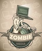 picture of zombie  - Media zombie with a laptop instead of a head - JPG