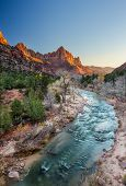 Постер, плакат: The Watchman Iconic Scene Sunset Zion National Park Utah