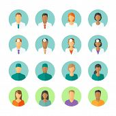 Постер, плакат: Flat avatars of doctors and patients for medical forum