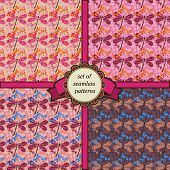 picture of dragonflies  - set of seamless patterns with dragonfly in pink colors - JPG