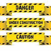 stock photo of law order  - Yellow security warning tapes set Caution - JPG