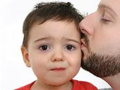 foto of feeling better  - Father kisses crying son - JPG