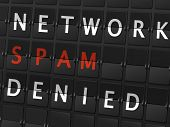 picture of spam  - network spam denied words on airport board background - JPG