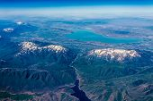 stock photo of snow capped mountains  - Aerial View of Provo Utah Area - JPG