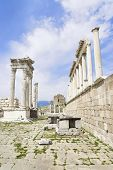 picture of akropolis  - Temple of Trajan in the ancient city of Pergamon Bergama Turkey - JPG