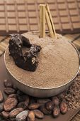 image of cocoa beans  - Chocolate powder and cocoa beans Food ingredients Close up - JPG