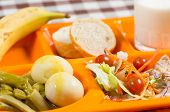 image of canteen  - Tray of food in a school canteen - JPG