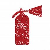 picture of fire extinguishers  - Red grunge fire extinguisher logo on a white background - JPG