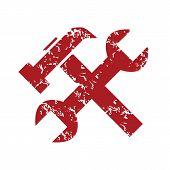 stock photo of rework  - Red grunge repair logo on a white background - JPG