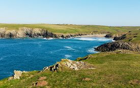 foto of polly  - Porth Joke beach next to Crantock bay Cornwall England UK near Newquay and on South West Coast Path also known as Polly Joke in spring with blue sea and sky - JPG
