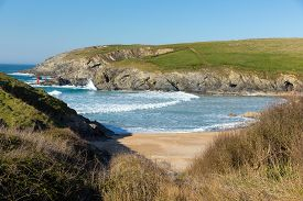 image of polly  - Porth Joke beach next to Crantock bay Cornwall England UK near Newquay and on South West Coast Path also known as Polly Joke in spring with blue sea and sky - JPG