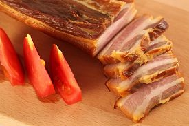 picture of pork belly  - Capture of Delicious pork belly meat with tomatoes - JPG