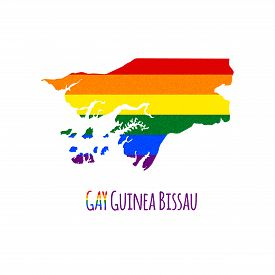 image of bisexual  - Vector map of Guinea Bissau in LGBT  - JPG