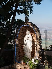 stock photo of prophets  - the statue of Mary near the monastery Muhraqa on Mount Carmel in the place of the Prophet Elijah fighting Israel  - JPG