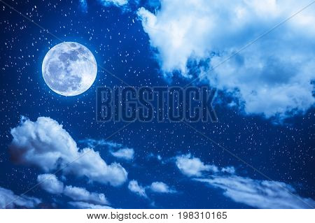 poster of Night Sky With Bright Full Moon And Cloudy, Serenity Blue Nature Background.