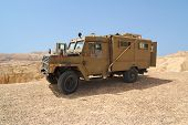 foto of humvee  - Israeli army Humvee on patrol in the Judean desert - JPG