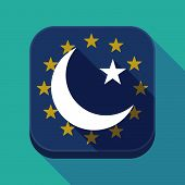Постер, плакат: Long Shadow Eu Square Button With An Islam Sign