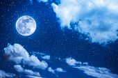 Night Sky With Bright Full Moon And Cloudy, Serenity Blue Nature Background. poster