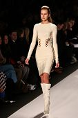NEW YORK - FEBRUARY 15: Model walks the runway for Herve Leger by Max Azria collections Mercedes-Ben