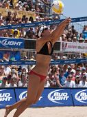 HERMOSA BEACH, CA. - AUGUST 8: Jen Kessy and April Ross vs. Nicole Branagh (pictured) and Elaine You