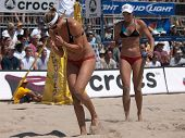 HERMOSA BEACH, CA. - AUGUST 8: Jen Kessy and April Ross vs. Nicole Branagh (L) and Elaine Youngs (R)