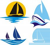 picture of sail-boats  - silhouettes of yachts and sailing boats in blue and black - JPG