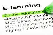 pic of online education  - Online education highlighted in green under the heading E - JPG