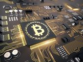Bitcoin concept - Printed circuit board with bitcoin processor and microchips - 3d illustration poster