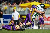 VIENNA,  AUSTRIA - MAY 10:Austrian Football League:  WR Thomas Haider (#13, Dragons) and the Danube