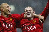 Wes Brown and Wayne Rooney at the Champions League Final held at Luzhniki Stadium Moscow 21 May 2008