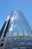 stock photo of prudential center  - Modern building in center of Boston with clouds reflected - JPG
