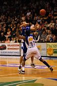 SZEKESFEHERVAR, HUNGARY - FEBRUARY 10: Roland Hendlein (in blue) in action at a Hugarian Champonship