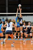 KAPOSVAR, HUNGARY - OCTOBER 31: Barbara Balajcza (8) blocks the ball at the Hungarian NB I. League w