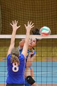 KAPOSVAR, HUNGARY - DECEMBER 19: Barbara Balajcza (R) in action at the Hungarian NB I. League woman