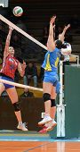 KAPOSVAR, HUNGARY - FEBRUARY 4: Barbara Balajcza (8) in action at the Hungarian NB I. League woman v