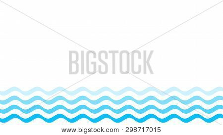 poster of Water Wave Blue Line Stroke Isolated On White Background, Water Wave Blue Smooth Simple, Art Line Wa