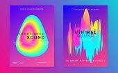 Music Fest Set. Fluid Holographic Gradient Shape And Line. Futuristic Electro Concert Brochure Layou poster