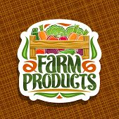 Vector Logo For Farm Products, Decorative Cut Paper Sign With Pile Of Beet Root, Raw Marrow And Radi poster