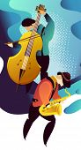 Classic Music Festival Jazz Rock Concert, Jazz Gangs. Vertical Vector Banner Illustration. poster