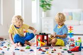 Kids Play With Toy Cars. Children Playing Car Toys poster